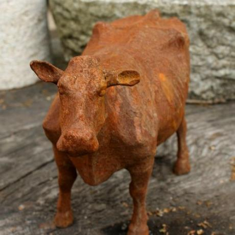 Cast Iron Standing Cow Farm Animal Garden Statue Feature Sculpture