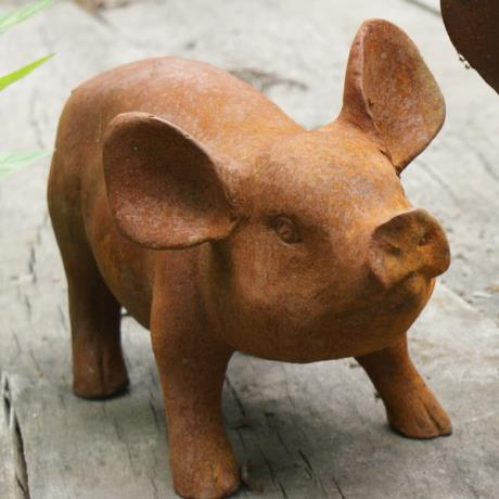 Cast Iron Standing Piglet Farm Animal Garden Statue Feature Sculpture