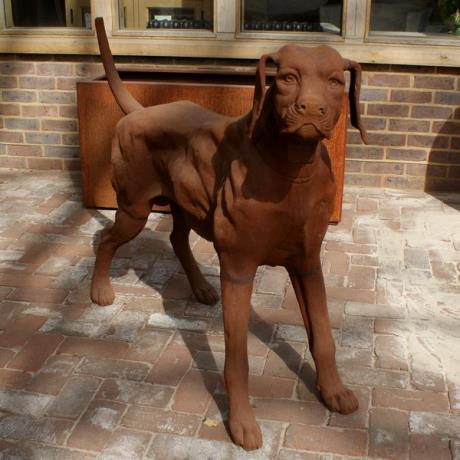 Cast Iron Standing Rhodesian Ridgeback Dog Animal Garden Statue Feature Sculpture