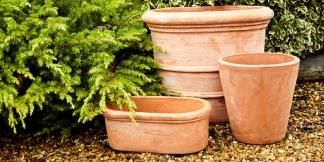 Terracotta Garden Planters; Terracini Florentine, Long Tom & Oval Trough