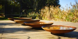 Water Features; Curved Corten Steel Water Bowls
