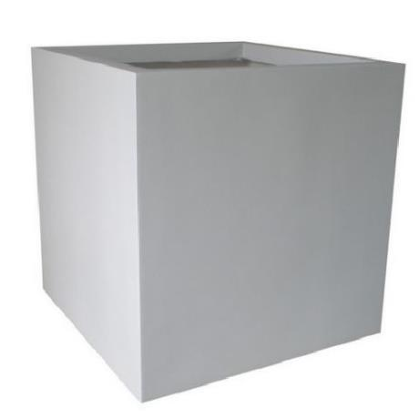 White Fibrestone Contemporary Square Box Garden Planter