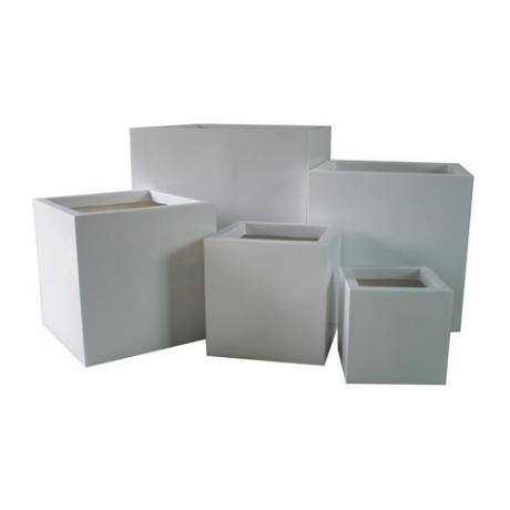 White Fibrestone Contemporary Square Box Garden Planters