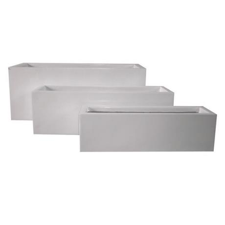 White Fibrestone Contemporary Rectangular Trough Garden Planters