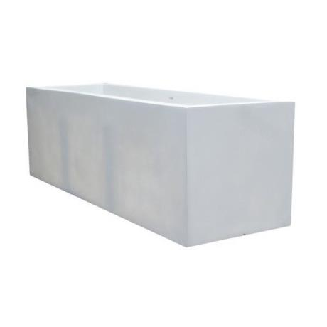 White Fibrestone Contemporary Rectangular Trough Garden Planter