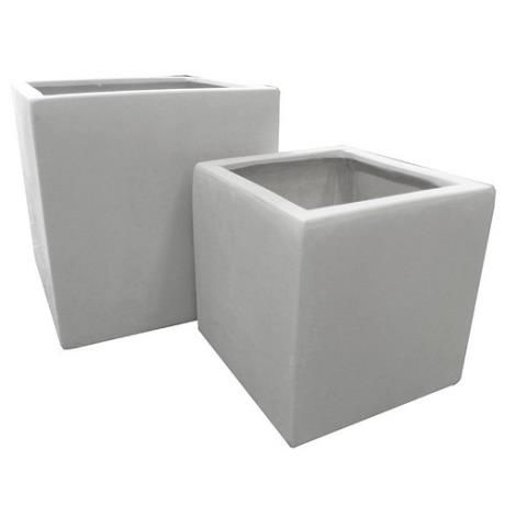 Marble White Polystone Square Cubic Garden Planters