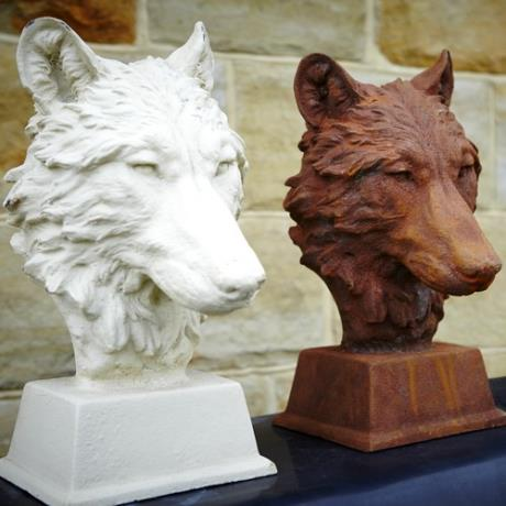 Cast Iron Antique White & Rust Wolf Head Dog Animal Garden Bust Statue Feature Sculpture