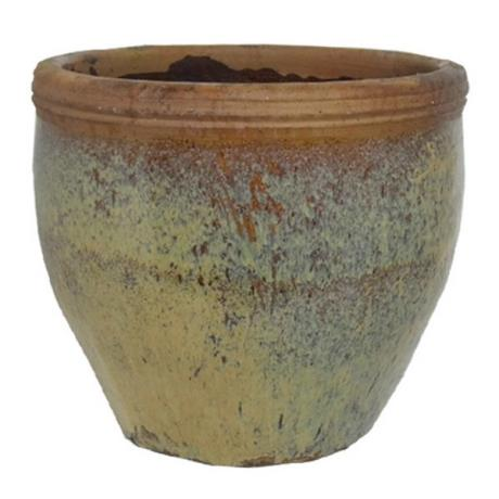 Yellow Taiyaun Round Yakuta Water Jar Garden Planter